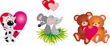 Valentine`s day animals Vector collection Stock Photos