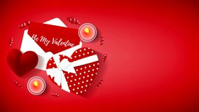 Valentine`s day animation background. Composition with gift box, case for ring, candles and serpentine stock video