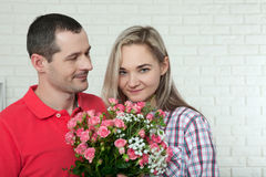 Valentine`s day, anniversary, event concept - young woman receiv Stock Photography