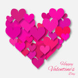 Valentine's day applique abstract background with cut pink paper heart. Stock Photography