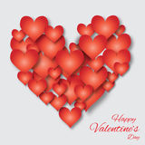 Valentine's day applique abstract background with cut red paper heart. Royalty Free Stock Photos