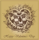 Valentines Day  сard. Heart with key drawn by han Royalty Free Stock Photo