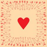 Valentine`s Day. Arrows around the heart. royalty free illustration