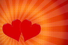 Valentine's Day Background. Couple of hearts on burst background royalty free illustration