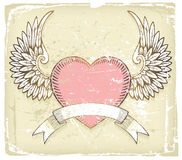 Valentine's day background. Retro-styled Valentine's day background with hand drawn elements stock illustration