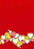 Valentines day background. Vector red background with many color hearts Stock Photography