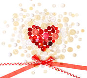 Valentine`s Day background. Happy Valentine`s Day background with button heart Stock Photo