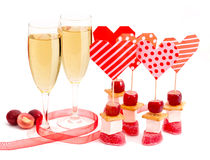 Valentine`s Day background. Happy Valentine`s Day background with champagne Stock Photos