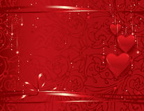 Valentine's day background. Vector illustration -festive background with red hearts Royalty Free Stock Photos