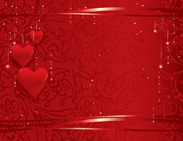 Valentine's day background. Vector illustration- festive background with red hearts Stock Photography