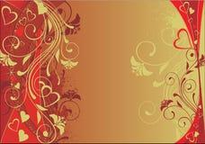 Valentine's day background. In golden palette stock illustration