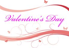 Valentine's day background. With butterflies and nice curves royalty free illustration