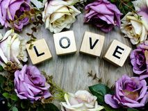 Valentine`s Day Background Alphabet Word Love Letter Royalty Free Stock Photos