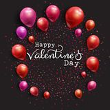 Valentine`s Day background with balloons and confetti. Valentine`s Day background with balloons, decorative text and confetti in shades of red and pink Stock Photography