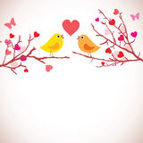 Valentines day background. Birds on branches ()
