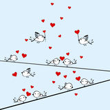 Valentine's Day background with birds and hearts Stock Photo