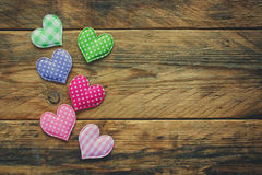 Valentine`s day background, border tissue heart Stock Photography