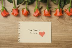 Valentine`s Day Background with Bouquet of red roses.  stock image