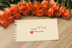 Valentine`s Day Background with Bouquet of red roses.  stock images