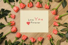 Valentine`s Day Background with Bouquet of red roses.  royalty free stock image