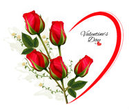 Valentine's Day background with a bouquet of red roses. Vector Royalty Free Stock Photo