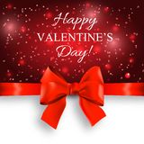 Valentine`s day background with bow. Valentine`s day abstract background with red bow Royalty Free Stock Photos