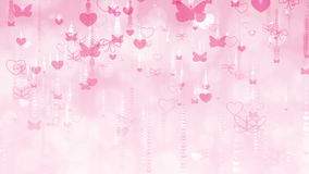Valentine`s Day Background with Butterflies and Hearts. stock video footage