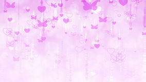 Valentine`s Day Background with Butterflies and Hearts. stock footage