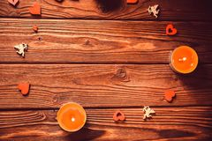 Valentine`s day background with candles, hearts royalty free stock photo