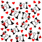 Valentine's Day background with cats and hearts Stock Images