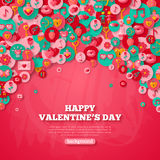 Valentine's day Background with Circle Flat Icons. Stock Photo