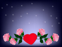 Valentine`s day Background with colorful Hears and roses. Royalty Free Stock Photography