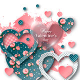 Valentine`s day background with cut paper heart. Valentine`s day abstract background with glossy, cut paper floral hearts and watercolor splash. Abstract Royalty Free Stock Image