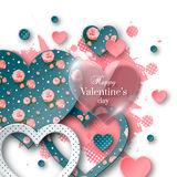 Valentine`s day background with cut paper heart. Valentine`s day abstract background with glossy, cut paper floral hearts and watercolor splash. Abstract Royalty Free Stock Photos