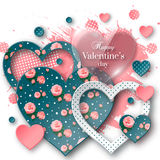 Valentine`s day background with cut paper heart. Valentine`s day abstract background with glossy, cut paper floral hearts and watercolor splash. Abstract Stock Images