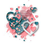 Valentine`s day background with cut paper heart. Valentine`s day abstract background with glossy, cut paper floral hearts and watercolor splash. Abstract Royalty Free Stock Images