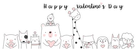 Valentine`s Day background with cute baby animal cartoon h. And drawn style vector illustration