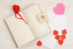 Valentine`s Day, background decor with red small heart Stock Photos