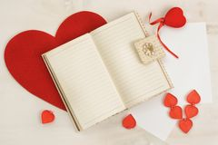 Valentine`s Day, background decor with red small heart Stock Photo
