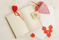 Valentine`s Day, background decor with red small heart Royalty Free Stock Images