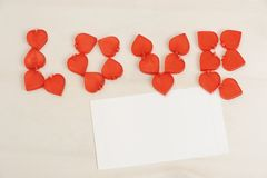 Valentine`s Day, background decor with small red heart Royalty Free Stock Photos