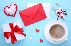 Valentine`s day background with decoration. View from above. Valentine`s day background with decoration. Top view royalty free stock images