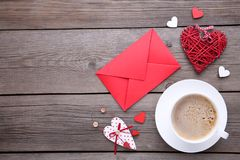 Valentine`s day background with decoration. View from above. Valentine`s day background with decoration. Top view royalty free stock image