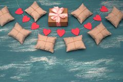 Valentine`s day background with Decorative composition garland on painted wood background. Top view Flat lay royalty free stock photo