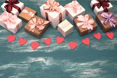 Valentine`s day background with Decorative composition garland on painted wood background. Top view Flat lay stock photography
