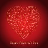 Valentine`s Day background with decorative gold hearts design. Valentine`s Day design with decorative gold hearts design on a red background royalty free illustration