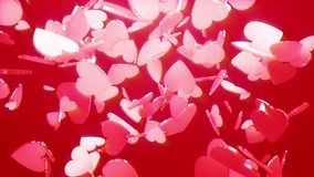 Valentine`s day background with falling 3d hearts. Valentine`s day background with flying falling ice shiny brilliant 3d hearts. Greeting card template. Video stock footage