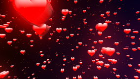 Valentine's day background, flying abstract hearts and particles stock video
