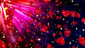 Valentine`s day background, flying abstract hearts and particles stock footage