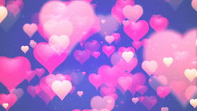 Valentine`s day background, flying abstract hearts and particles stock video